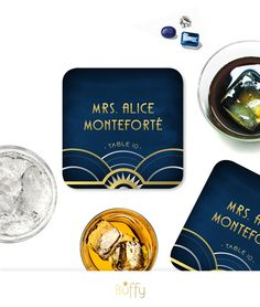 The ALICE . Place Card Coasters . Art Deco Great Gatsby 1920s Gold Silver Navy Speakeasy Parlor . Wedding Escort Card . Guest Names & Tables by BuffyWeddings on Etsy