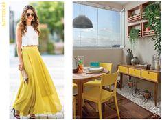 Pantone fashion x decor - Casa das Amigas Pantone 2016, Buttercup, Fashion Colours, Color Trends, Color Inspiration, Ideias Fashion, High Waisted Skirt, Yellow, Trends