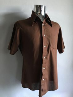 Vintage Men's 60's Brown, Shirt, Short Sleeve, Button Down by JC Penney (L) by Freshandswanky on Etsy