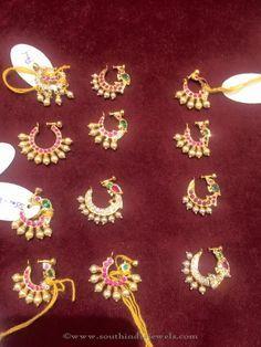 Hyderabad Bridal Nose Pins, Hyderabad Bridal Nose Rings, Gold Nose Rings.