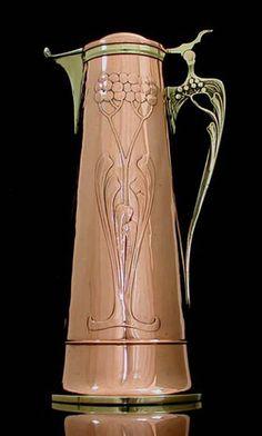 Art Nouveau Copper and Brass Wine Jug, Germany c1905