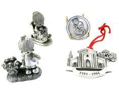 Vintage Pewter Lot Precious Moments x4 • 2 Mini Figurines • Mini Plate • Christmas Tree Ornament • Signed Samuel Butcher Chapel Souvenirs by KatesAtticBargains on Etsy