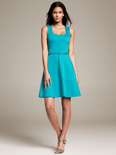 Belted Ponte Fit-and-Flare Dress Product Image