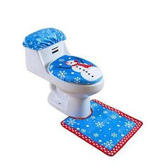 Rubility New Snowman Toilet Seat Cover and Rug Set for Bathroom Christmas Decorations Blue *** Read more  at the image link.