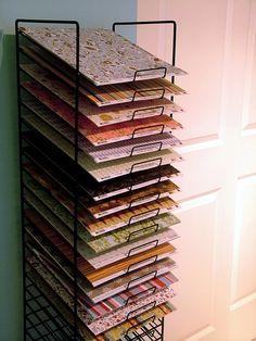 Scrapbook paper organizer rack – DIY in 2020 Scrapbook Paper Organization, Craft Organization, Organizing, Space Crafts, Home Crafts, Craft Room Storage, Craft Rooms, Vinyl Storage, Storage Ideas