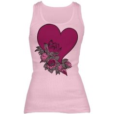 #DeepPinkHeartAndFlowers #PinkRibbedTankTop by #MoonDreamsMusic #ValentinesDayStyle