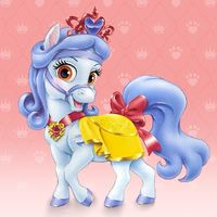 Sweetie is a pale blue pony who belongs to Snow White. She has a light blue mane and tail, light brown eyes, and wears red jewelry. Kids Cartoon Characters, Cartoon Kids, Disney Characters, Princess Palace Pets, Disney Princesses And Princes, Punch Art Cards, Snow White Disney, Disney Wiki, White Puppies