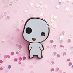 "Creepy+cute+lil+forest+spirit ♥+1.25""+tall+ ♥+Silver+hard+enamel+pin ♥+Glow-in-the-dark+variant"