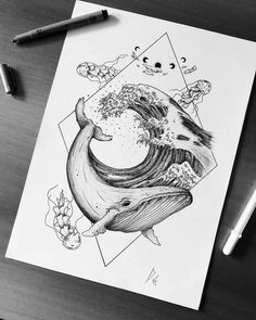 Fineliner Ink and Pencil Animal Drawings - - Whale Sketch, Whale Drawing, Pencil Art Drawings, Cute Drawings, Animal Drawings, Tattoo Sketches, Drawing Sketches, Tattoo Drawings, Arte Sharpie