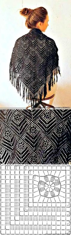 Shawl from square motives with asymmetric drawing.