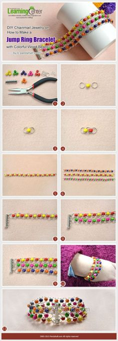 DIY Chainmail Jewelry on How to Make a Jump Ring Bracelet with Colorful Wood Beads by wanting