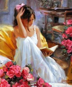 Girl reading #painting #bow / Ragazza che legge #dipinto #fiocco - Art by ?