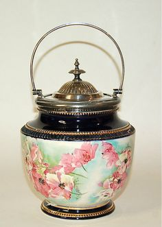Signed Victorian Hand Painted Biscuit Jar, Circa 1890, Antique Ceramic, Cobalt