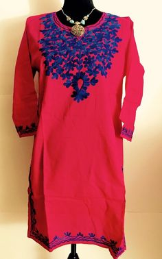 Women 100% Cotton Kurti Kurta Tunic Dress Top Hand Embroidered Pink Size Large  | eBay