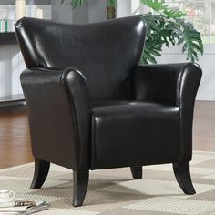 LivingRoom Black Leather-like Vinyl Stationary Accent Arm Chair Single Sofa Seat #Contemporary