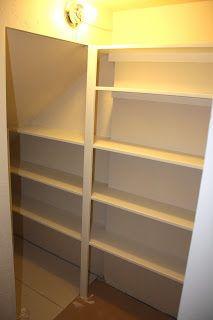 Under Stair Shelves Stair Shelves, Stair Storage, Closet Storage, Basement Renovations, Basement Ideas, Basement Closet, Small Pantry, Wardrobe Closet, Butler Pantry