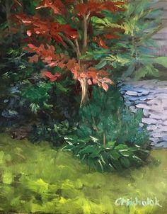 """Christine's Garden"" plein air sketch by Christy Michalak, Canada, c 2017"