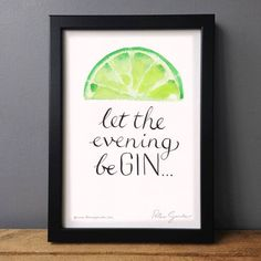 'let the evening be gin' with lime original painting by have a gander | notonthehighstreet.com