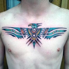 Gentleman With Tribal Designed Eagle Tattoo Design