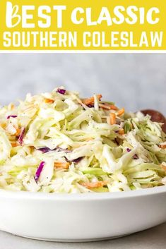 Southern Coleslaw Recipe also known as Cole Slaw with shredded cabbage, mayonnaise, apple cider vinegar,  lemon juice and sugar are just some of the dressing ingredients. Everybody loves this crunchy, tangy and creamy 5 minute easy slaw. So tasty! #coleslaw #southerncoleslaw #creamycoleslaw #cabbagerecipes