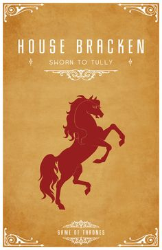 House Bracken Sigil - Red Stallion Sworn to House Tully After watching the awesome Game of Thrones series I became slightly obsessed with each of the Ho. Tully Game Of Thrones, Game Of Thrones Poster, Game Of Thrones Series, Game Of Thrones Art, Valar Morghulis, Geeks, Serie Got, House Sigil, Tarot