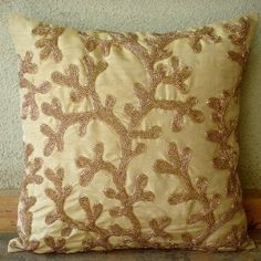 Coral Shine - Decorative Pillow Covers - Silk Pillow Cover with Gold Beads :     Price: $20.69    .Customer Discussions and Customer Reviews.Check Price >> http://gethotprice.com/appin/?t=B004NPXPV4