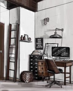 Workspace sketch #interior #sketchinterior #illustration #artist #art #design #arqsketch #arch_more #arch_sketch #sketch #sketching #copic #markers #artist #furniture #geometry #drawing #hitech #loft #interiordesign #sketchzone #photoshop #handrendering #artshelp #furniture #instagood #digitalart #sketchdaily