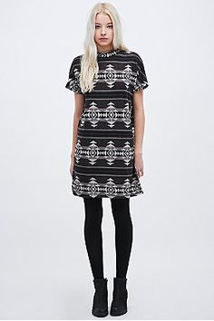 Staring at Stars Aztec Turtle Neck Dress in Black