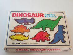 Vintage 1980's Dinosaur Cookie Cutter Set in by RitasGarden, $8.50