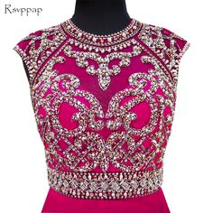 e8cb3e2f04f3e3 Long Sparkly Prom Dresses 2017 Stunning Scoop Sleeveless Beaded Crystals  Backless African Hot Pink Chiffon Backless