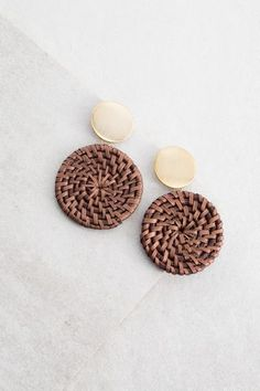Wicker Disc Drop Earrings | Dark $18