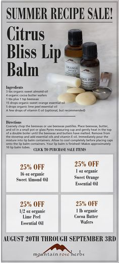 Citrus Bliss Lip Balm recipe! Mountain Rose Herbs Summer Sale!
