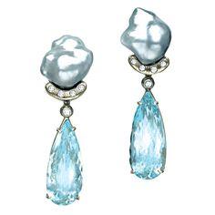 Sorab & Roshi Keshi Pearl & Diamond Earrings with Aqua Drop | From a unique collection of vintage drop earrings at https://www.1stdibs.com/jewelry/earrings/drop-earrings/