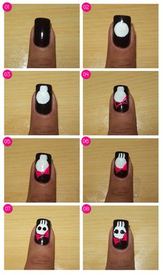 How to do halloween nail art / Especial Halloween - Unhas de Caveirinha Fashion