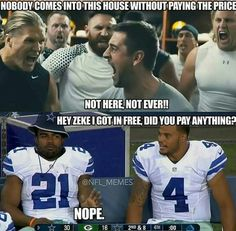 Let's make them pay the price when they come to our house!  Go cowboys!  Beat the packers in the playoffs!