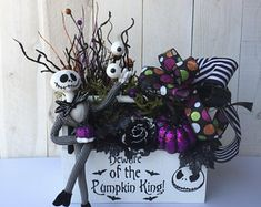 Halloween Centerpiece Halloween decor for table Halloween arrangement for table Halloween table decor Jack Skellington Halloween 2019, Halloween Themes, Halloween Pumpkins, Fall Halloween, Halloween Crafts, Halloween Wreaths, Halloween Stuff, Halloween Table Decorations, Diy Wreath