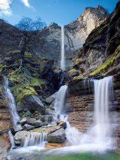 Waterfalls in source of river Nervión in Delica, Alava, Spain.