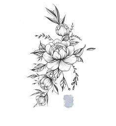 Blue Floral Illustration with Gouache Watercolor Paint Tattoo Fairy, Tattoo On, Cover Up Tattoos, First Tattoo, Back Tattoo, Leg Tattoos, Tattoo Drawings, Body Art Tattoos, Sleeve Tattoos