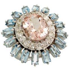 Revoni Morganite Aquamarine Diamond Ring