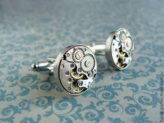 Купить Запонки в стиле стимпанк - серебряный, запонки, запонки для мужчин, подарок мужчине, подарок мужу