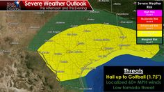 We'll be on the lookout for strong to severe thunderstorms this afternoon and tonight. The threat runs along and south of Interstate 20 from Abilene east into Louisiana - and points south. Large hail will be the primary concern with the strongest storms. Localized damaging wind gusts and a brief tornado are also possible. Full details on the forecast are available on the weather blog: http://texasstormchasers.com/?p=43668