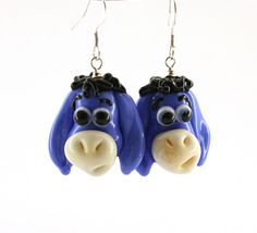 Eeyore earrings jewelry glass donkey lampwork bead by Myhappyhobby