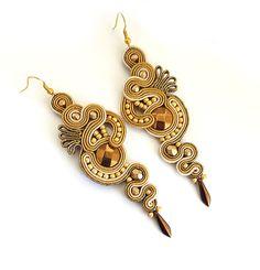 Gold earrings soutache antique gold  earrings long by sutaszula