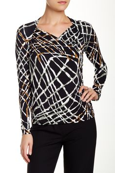 Gathered Faux Wrap Blouse by Lafayette 148 on @HauteLook