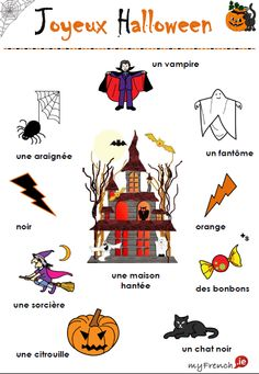 Let's learn Halloween French vocabulary playing different games and doing different activities. Halloween Vocabulary, Halloween Worksheets, French Teacher, Teaching French, How To Speak French, Learn French, Learn English, Halloween En France, Beginning Sounds Kindergarten