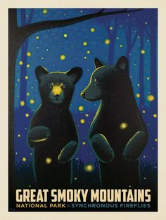 Vintage Travel Poster - – Great Smoky Mountains - American National Parks - - Bear Cubs and Fireflys - Anderson Design Group. American National Parks, National Parks Map, National Park Posters, Party Vintage, Vintage Room, Vintage Birthday, Framed Postcards, Best Places To Camp, Smoky Mountain National Park