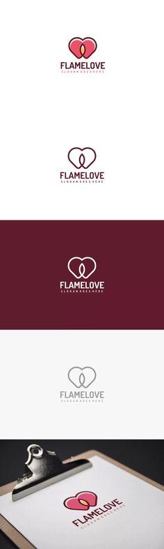 Flame Love Logo Template AI, EPS #unlimiteddownloads