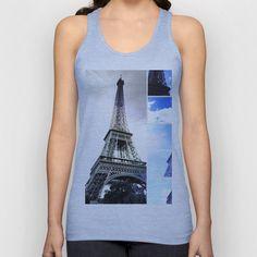Eiffel Tower Blue Photo Collage Unisex Tank Top by Christine aka stine1 - $22.00