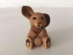 "Vintage Artesania Rinconada Baby Wild Rabbit Figurine, 1 3/4"" Long x 2 1/2"" High"