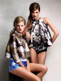 "Hanne Gaby Odiele and Constance Jablonski in ""The Voice of Spring"" by Patrick Demarchelier for Vogue China March 2010"